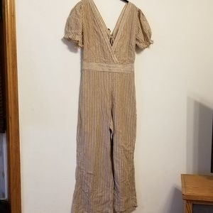 Free People brown & cream stripe jumpsuit